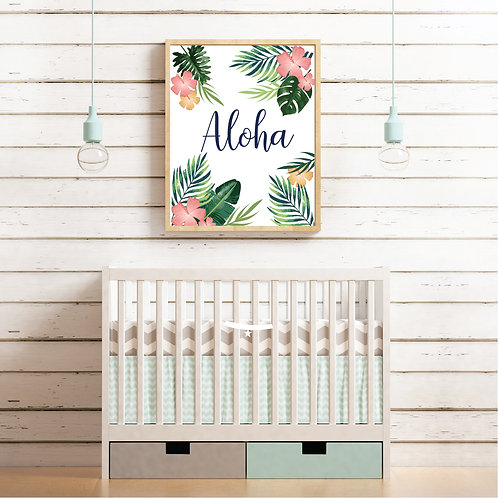 Aloha tropical Print- Green, pink & yellow