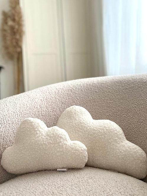 Cream boucle cloud cushions