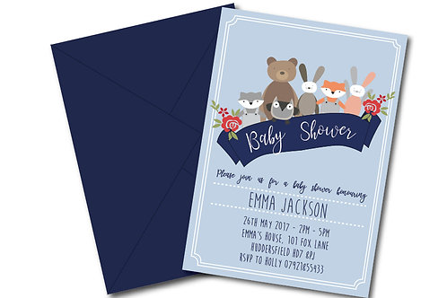 Animal banner baby shower invitation- PDF