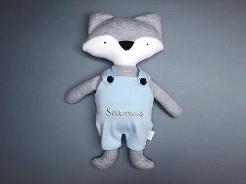 Fox in dungarees soft toy- grey/blue