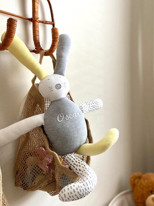 Flopsy bunny soft toy- yellow/grey/white