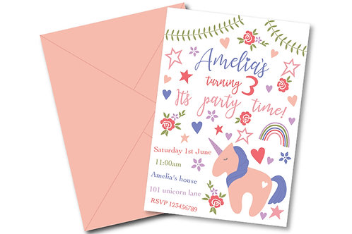 Unicorn birthday party invitation white- PDF