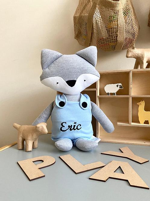 Frankie fox soft toy- grey/blue