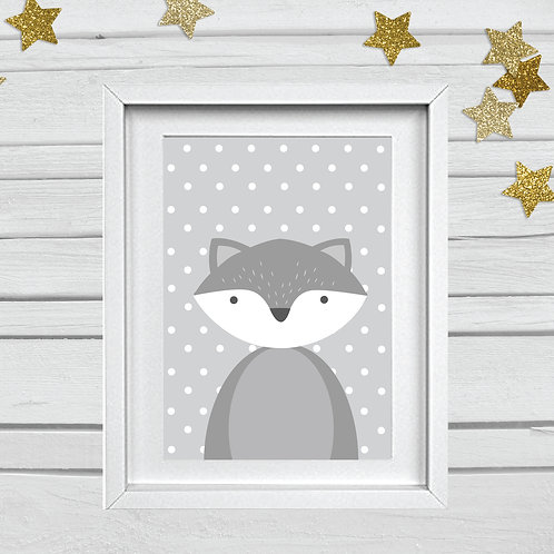 Fox head nursery print- A4 grey/white