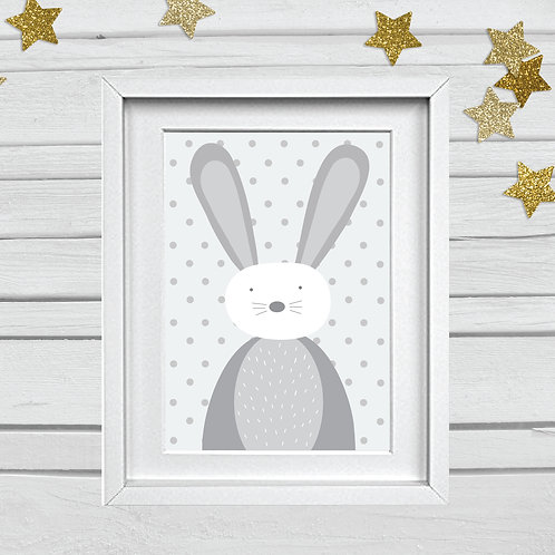 Bunny head nursery print- A4 grey/white