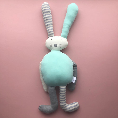 Flopsy bunny soft toy- aqua/grey/ivory