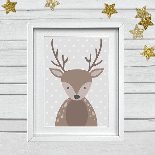 Deer head nursery print- A4 brown/grey