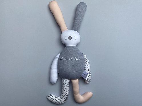 Flopsy bunny soft toy- grey/pink/white