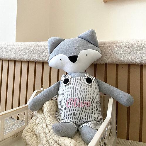 Frankie fox soft toy- grey/dot print