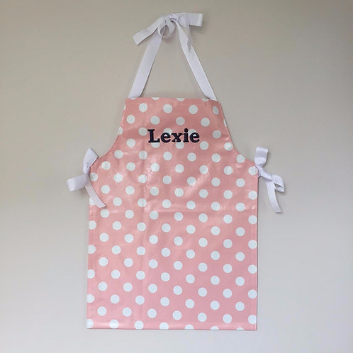 Personalised wipe-clean apron in polka-dot print- pink/white