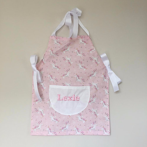 Personalised apron in unicorn print- pink