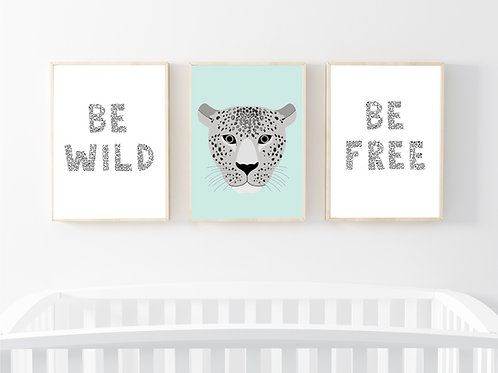 Leopard print set of 3 prints- A4 mint/grey