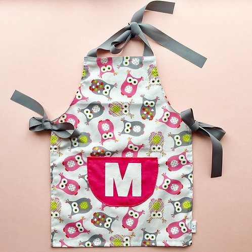 Personalised apron in owl print
