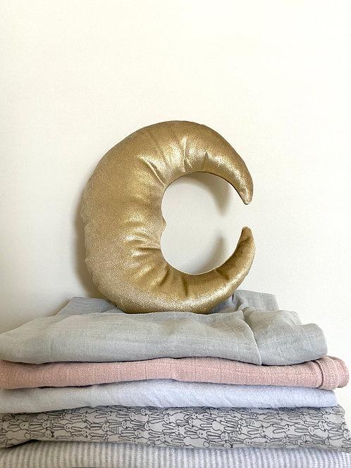 Gold velvet moon cushion