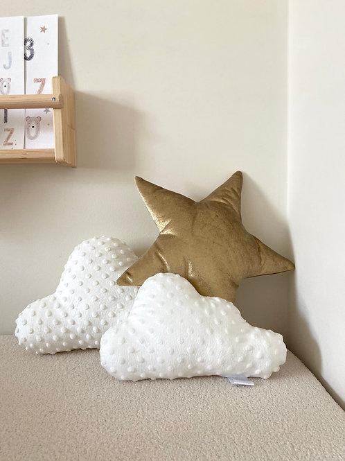 White clouds & gold star cushion set