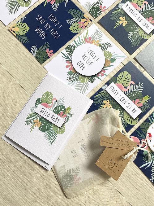 Baby Milestone card set of 24- Tropical