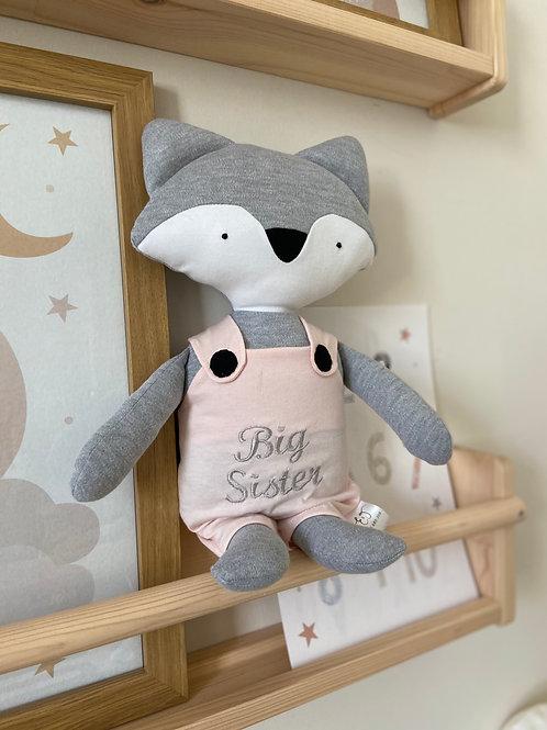 Frankie fox soft toy- grey/pink