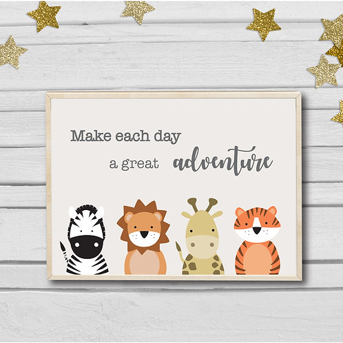 Zoo animals quote nursery print- A4 landscape brights
