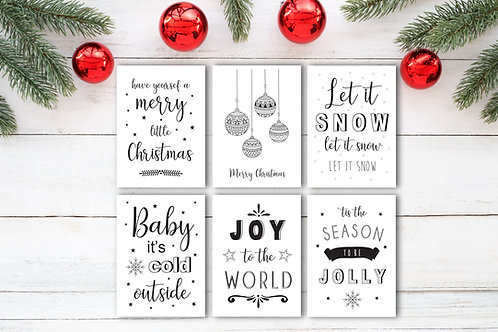 Modern monochrome Christmas card pack of 6