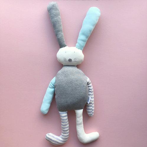 Flopsy bunny soft toy- aqua/grey/ivory