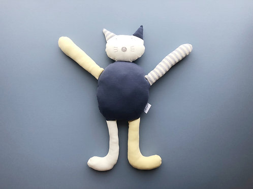 Cat soft toy- blue/yellow/grey/ivory