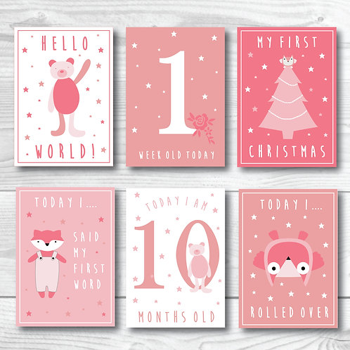 Baby Milestone card forest animals- pink and white