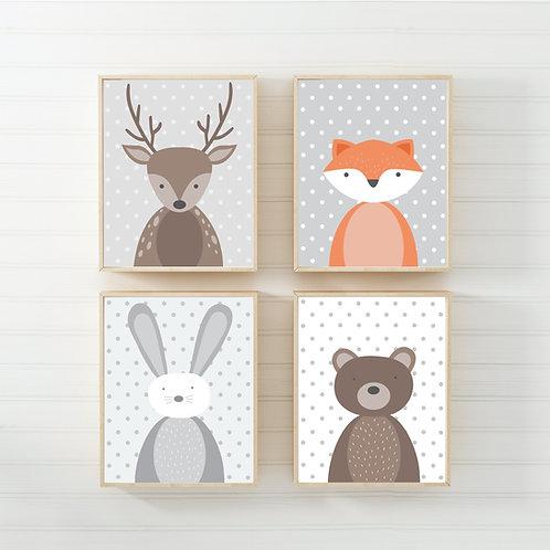 Animal nursery prints set of 4- A4 gender neutral