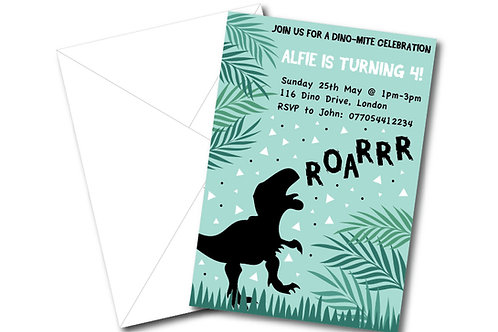 Dinosaur birthday party invitation- PDF