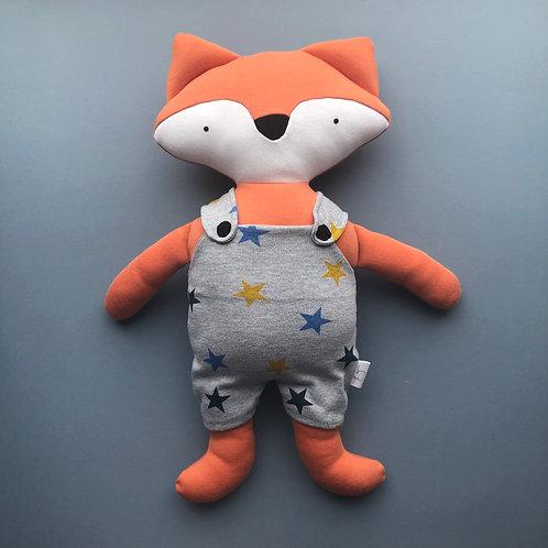 Fox in dungarees soft toy- orange/grey star print