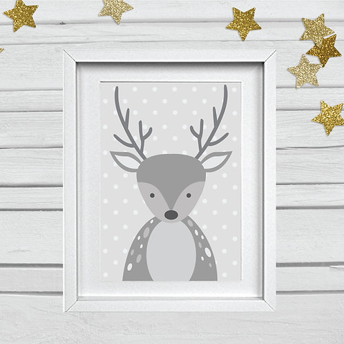 Deer head nursery print- A4 grey/white