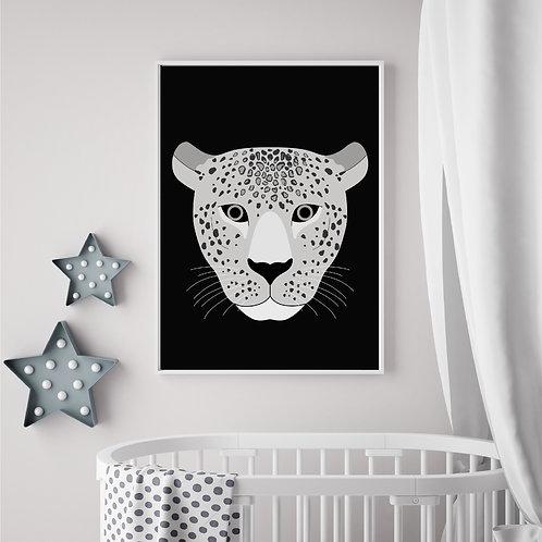 Leopard black/grey print - A4 print