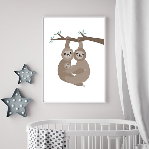 Sloth family print- A4