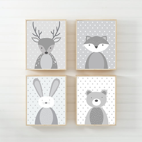 Animal nursery prints set of 4- A4 grey/white