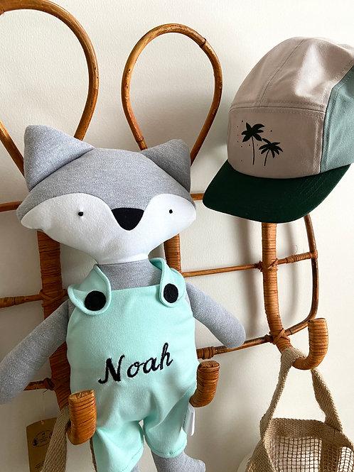 Frankie fox soft toy- grey/aqua