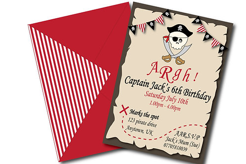 Pirate party birthday invitations- PDF