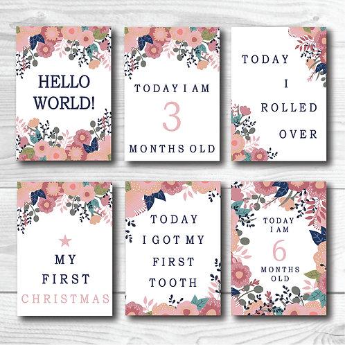 Baby Milestone card set of 24- Rustic Florals