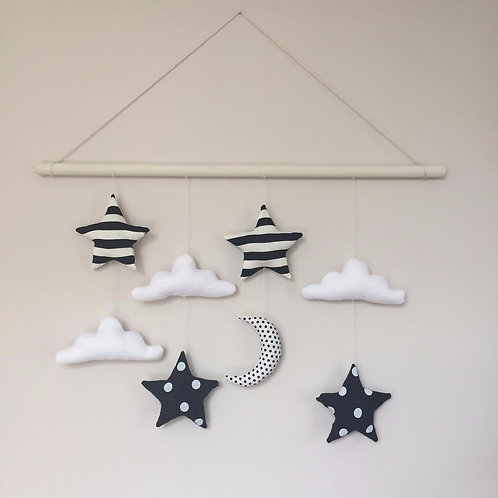 Clouds, Stars & Moon Wall Hanging- black & white