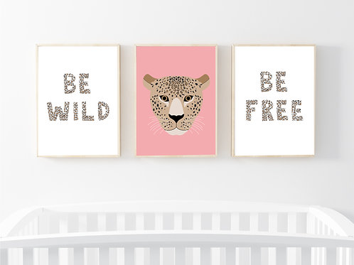 Leopard print set of 3 prints- A4 pink/neutral