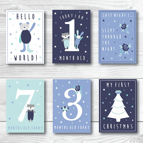 Baby Milestone card set of 24- Navy & blue