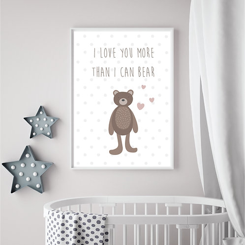 I cannot bear to be without you print- A4 white/brown/pink