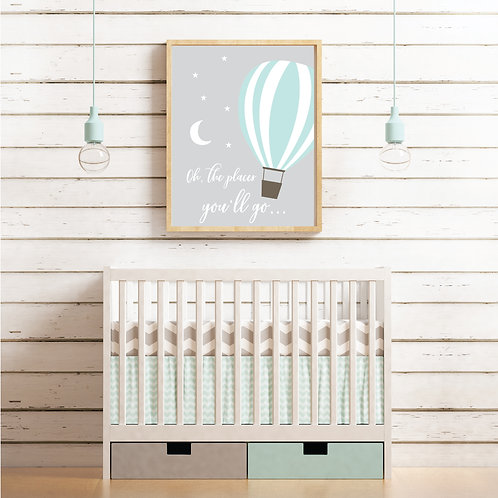 Hot air balloon print- neutral grey & mint