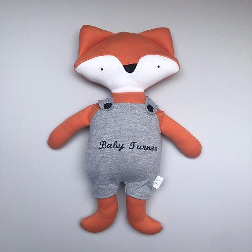 Fox in dungarees soft toy- orange/grey