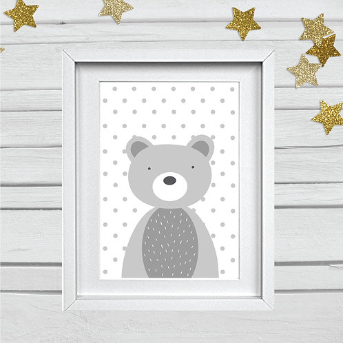 Bear head nursery print- A4 grey/white