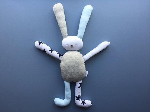 Flopsy bunny soft toy- blue/grey/ivory/stars