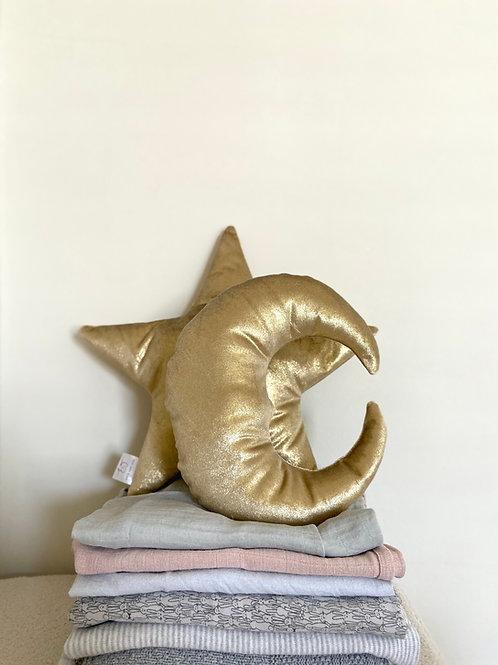 Gold velvet star & moon cushion set