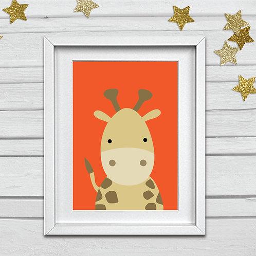 Giraffe head nursery print- A4