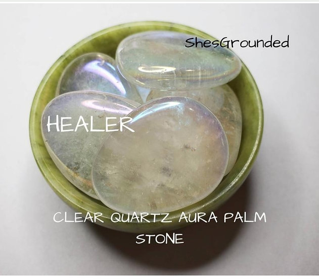 Clear Quartz Aura Palm