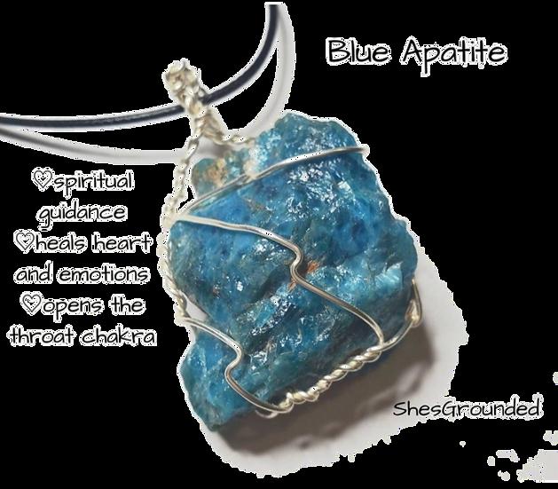 Blue Apatite Wire Wrap Necklace