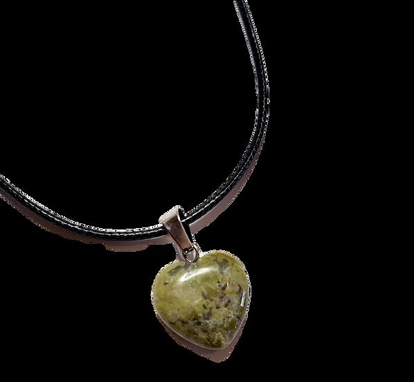 Unakite Jasper Heart Necklace