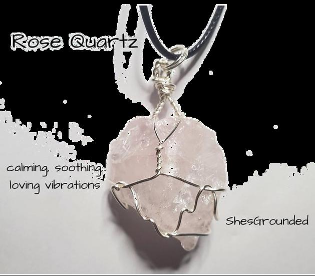 Rose Quartz Wire Wrap Necklace
